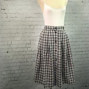 Vintage button down plaid high waisted skirt